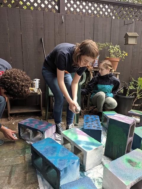 spray painting cinderblocks