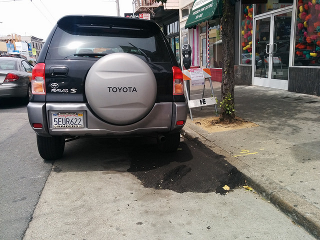 SUV blocking the ramp
