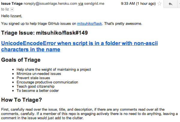 Codetriage email sample