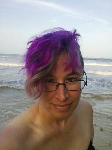 liz in sundress at beach