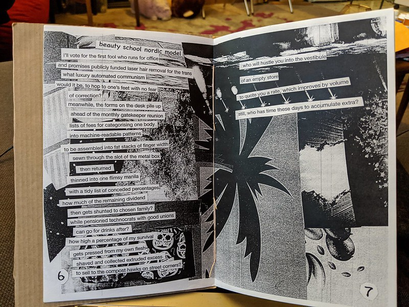 zine pages with a cut and paste layout poem