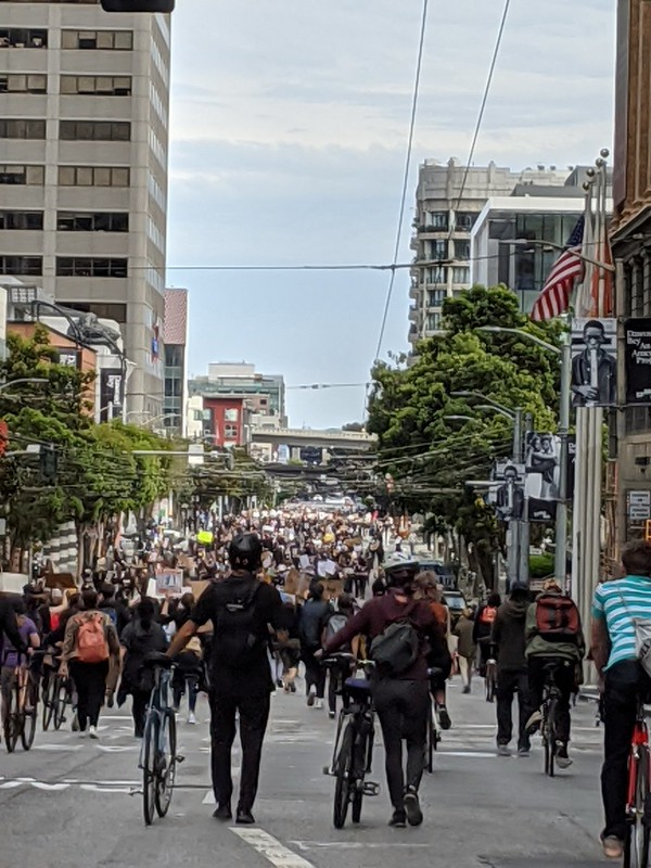 political march in downtown sf