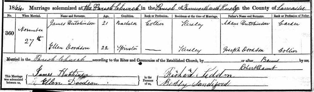 marriage record from 1864