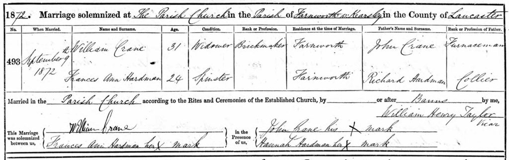 william crane marriage record