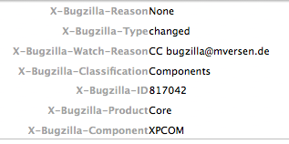 Bugzilla x headers