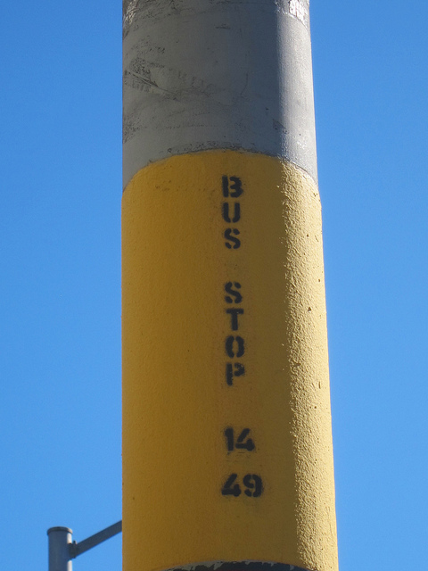 Bus stop sign for 14 49