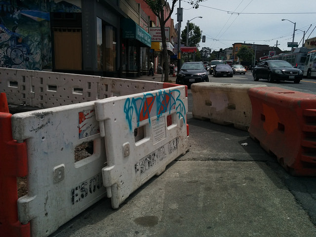 Sidewalk construction barriers